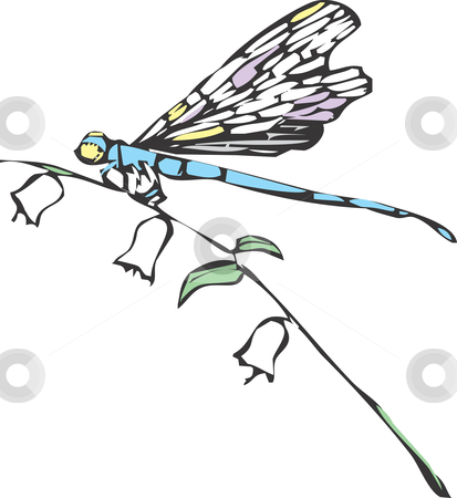 Dragonfly stock vector clipart, A dragonfly or damselfly on a flower stem. by Jeffrey Thompson