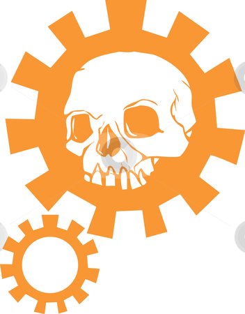 Gear Skull stock vector clipart, Human Skull with a halo of a mechanical gear. by Jeffrey Thompson