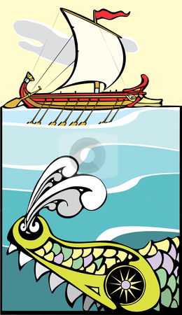 Greek Ship and Sea Monster stock vector clipart, Greek ship being threatened by a sea monster. by Jeffrey Thompson