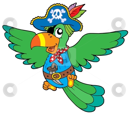 Flying pirate parrot stock vector clipart, Flying pirate parrot - vector illustration. by Klara Viskova