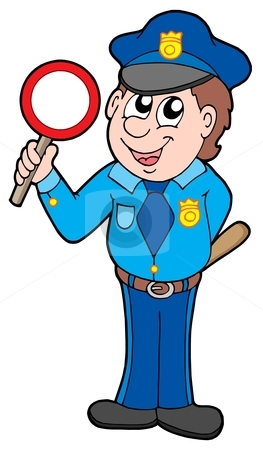 Cute policeman with stop sign stock vector clipart, Cute policeman with stop sign - vector illustration. by Klara Viskova