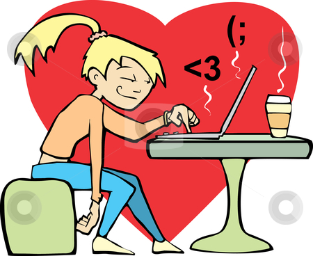 Woman flirting at computer. stock vector clipart, A woman in a coffee shop flirts with an online lover. by Jeffrey Thompson