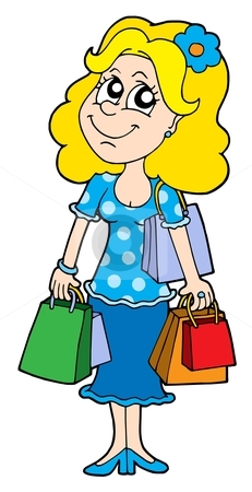 Blond shopping girl vector illustration stock vector clipart, Blond shopping girl - vector illustration. by Klara Viskova