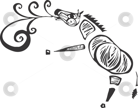 Singing Zebra stock vector clipart, A zebra calling out with a song rendered as a speech scroll. by Jeffrey Thompson