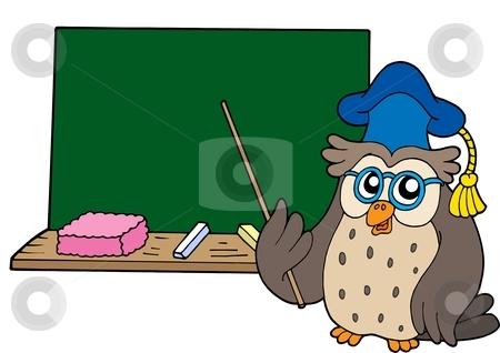 Owl teacher with blackboard stock vector clipart, Owl teacher with blackboard - vector illustration. by Klara Viskova