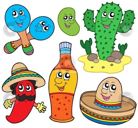 Mexican cartoon collection stock vector clipart, Mexican cartoon collection - vector illustration. by Klara Viskova