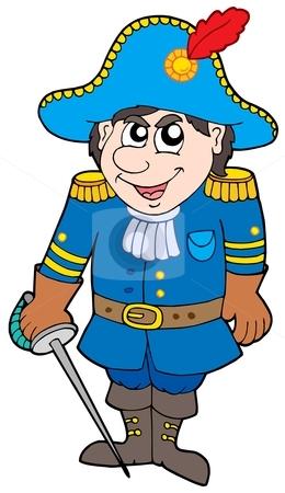 Cartoon soldier in blue uniform stock vector clipart, Cartoon soldier in blue uniform - vector illustration. by Klara Viskova