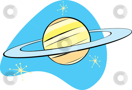 Retro Planet Saturn  stock vector clipart, Retro Planet Saturn is part of a complete set of Solar System planet for download. by Jeffrey Thompson