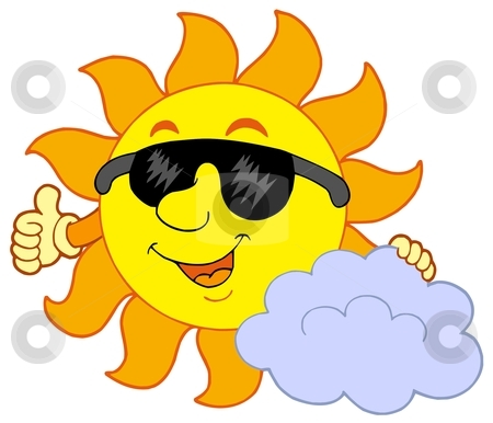 Sun with cloud stock vector clipart, Sun with cloud - vector illustration. by Klara Viskova