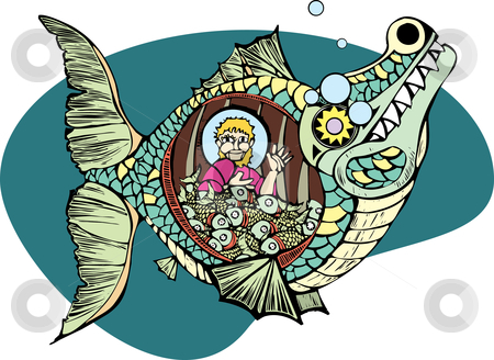 Jonah and the Whale stock vector clipart, Jonah in the belly of the whale with a bunch of fish. by Jeffrey Thompson