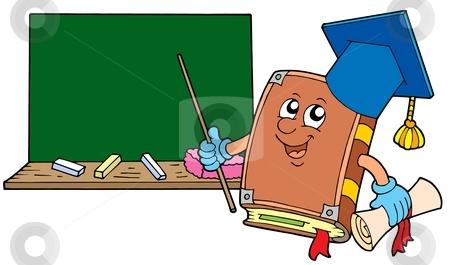 Book teacher with blackboard stock vector clipart, Book teacher with blackboard - vector illustration. by Klara Viskova