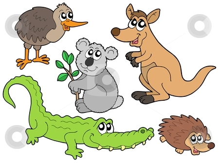 Australian animals collection stock vector clipart, Australian animals collection - vector illustration. by Klara Viskova