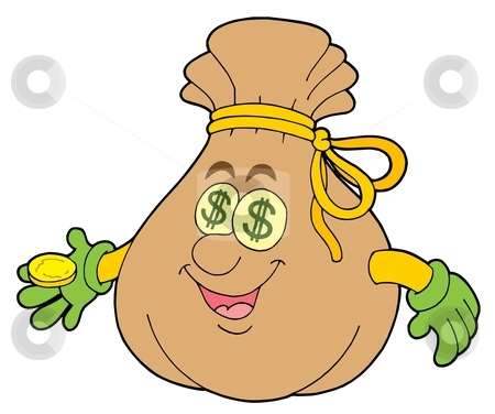 Cute money sack stock vector clipart, Cute money sack - vector illustration. by Klara Viskova