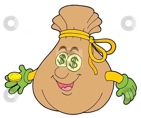 Cute money sack stock vector clipart, Cute money sack - vector illustration. by Klara Viskova