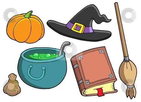 Witch tools stock vector clipart, Witch tools on white background - vector illustration. by Klara Viskova