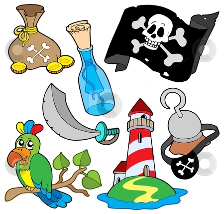 Pirate collection 6 stock vector clipart, Pirate collection 6 on white background - vector illustration. by Klara Viskova