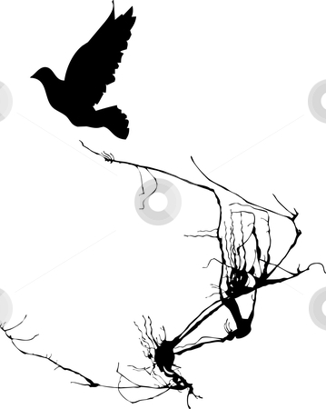 Bird Takes Wing stock vector clipart, Shadow of a bird takes wing from the branches of a tree. by Jeffrey Thompson