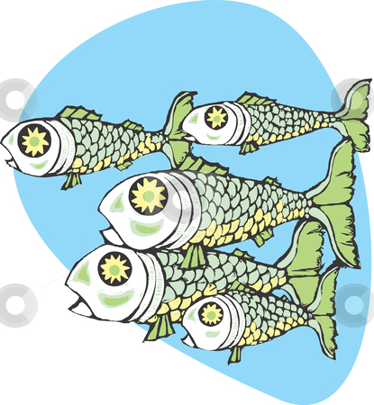 School of fish  stock vector clipart, School of fish swimming together in the sea. by Jeffrey Thompson