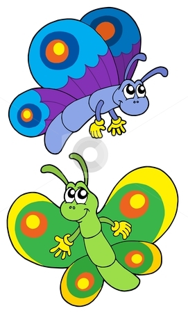 Pair of smiling butterflies stock vector clipart, Pair of smiling butterflies - vector illustration. by Klara Viskova
