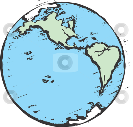 Woodcut Earth stock vector clipart, An image of the Earth in the style of a woodcut. by Jeffrey Thompson