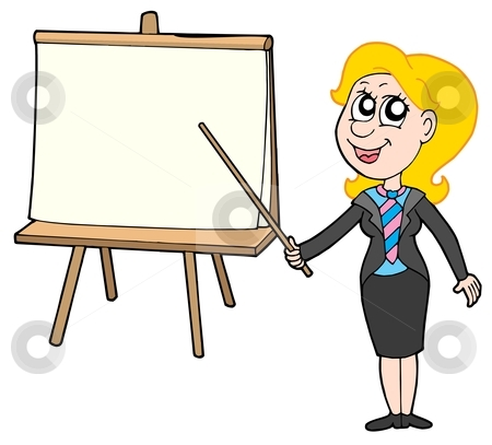 Businesswoman with table stock vector clipart, Businesswoman with table - vector illustration. by Klara Viskova