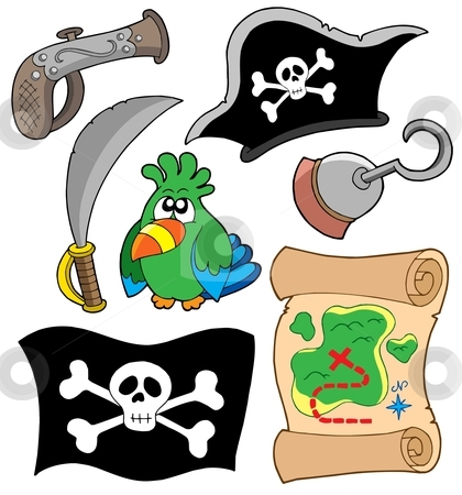 Pirate equipment collection stock vector clipart, Pirate equipment collection - vector illustration. by Klara Viskova