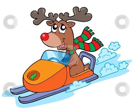 Christmas reindeer riding scooter stock vector clipart, Christmas reindeer riding scooter - vector illustration. by Klara Viskova