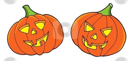 Pair of Halloween pumpkins stock vector clipart, Pair of halloween pumpkins - vector illustration. by Klara Viskova