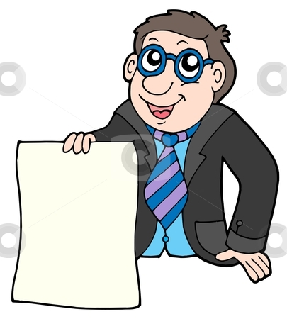 Businessman with contract stock vector clipart, Businessman with contract - vector illustration. by Klara Viskova
