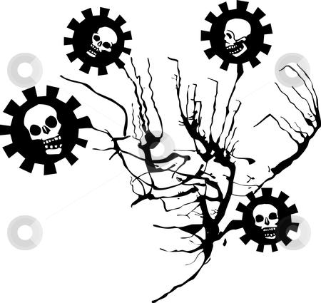 Flowers of Evil stock vector clipart, Flowers of evil skulls on black stems. by Jeffrey Thompson