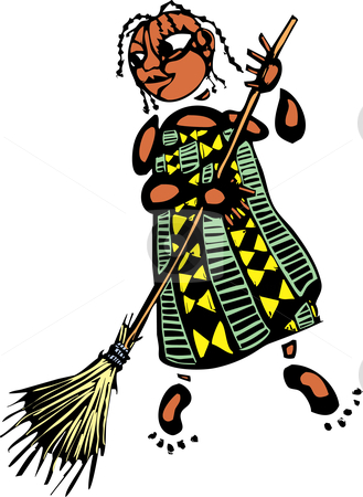 Girl with broom stock vector clipart, Girl in an african patterned dress with broom by Jeffrey Thompson