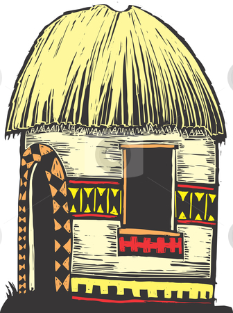 African Hut stock vector clipart, African hut with straw roof and decorated sides. by Jeffrey Thompson