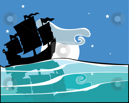 Chinese Junk at night stock vector clipart, Chinese Junk sailing at night with reflection on the water. by Jeffrey Thompson