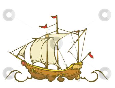 Pirate Ship stock vector clipart, Sailing ship or Pirate ship on the high seas. by Jeffrey Thompson