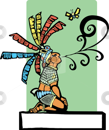 Mayan Storyteller stock vector clipart, Mayan storyteller with speech scroll coming from his mouth and butterfly. by Jeffrey Thompson