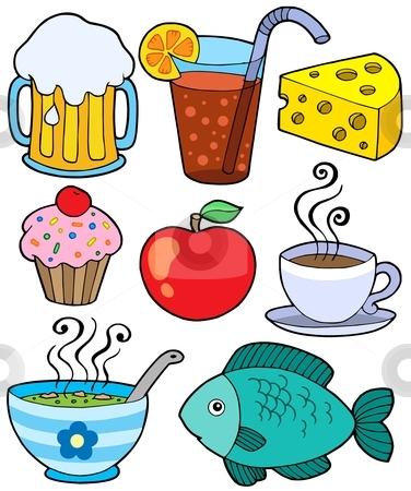 Food and drink collection 1 stock vector clipart, Food and drink collection 1 - vector illustration. by Klara Viskova