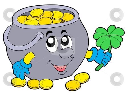 Lucky pot of money stock vector clipart, Lucky pot of money - vector illustration. by Klara Viskova