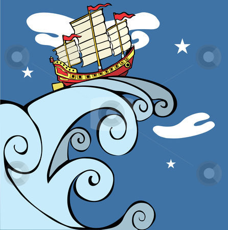 Chinese Junk on a Tsunami. stock vector clipart, Chinese Junk riding a tsunami through the night. by Jeffrey Thompson