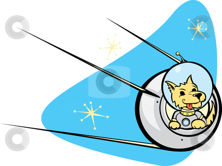 Sputnik Satellite and dog. stock vector clipart, Retro Russian Satellite a space dog. by Jeffrey Thompson