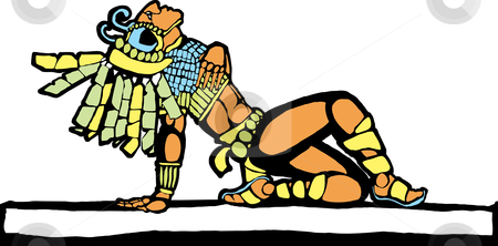 Mayan Warrior stock vector clipart, Mayan warrior designed after Mesoamerican Pottery and Temple Images. by Jeffrey Thompson