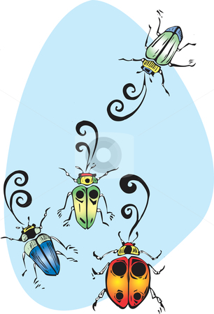 Singing Beetles stock vector clipart, Four colorful beetles gathering to sing and chirp. by Jeffrey Thompson