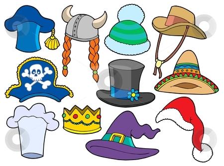 Various hats collection stock vector clipart, Various hats collection - vector illustration. by Klara Viskova
