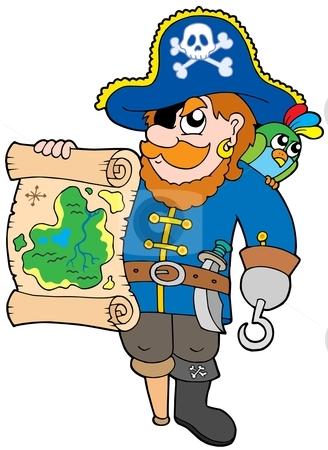 Pirate with treasure map stock vector clipart, Pirate with treasure map - vector illustration. by Klara Viskova