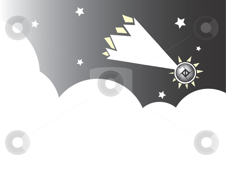 Meteor  stock vector clipart, Falling meteor with American Native patterning falls past clouds and stars to the earth. by Jeffrey Thompson