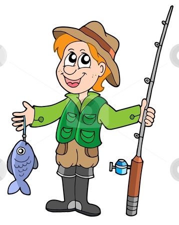 Fisherman with rod stock vector clipart, Fisherman with rod - vector illustration. by Klara Viskova