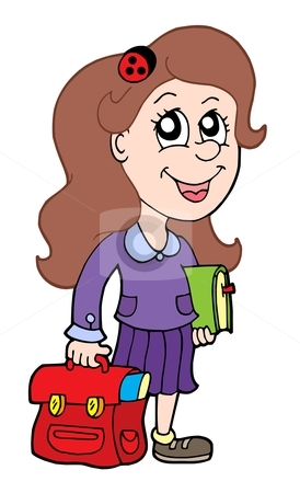 Pupil with school bag stock vector clipart, Pupil with school bag - vector illustration. by Klara Viskova