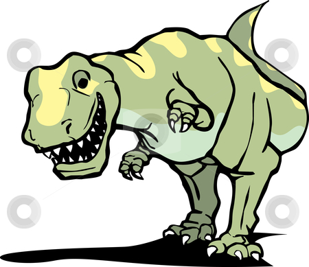 Tyrannosaurus Rex stock vector clipart, The dinosaur Tyrannosaurus Rex hunting for prey. by Jeffrey Thompson