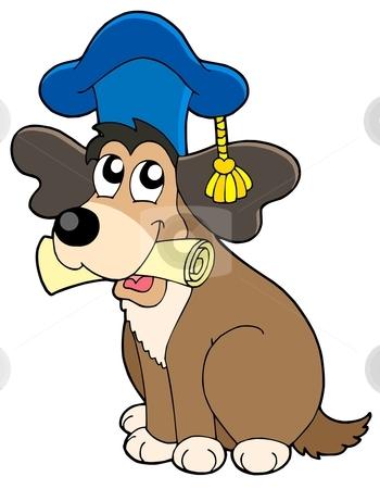 Dog teacher in hat stock vector clipart, Dog teacher in hat - vector illustration. by Klara Viskova