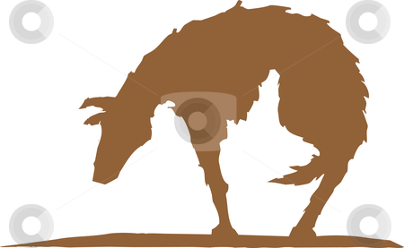 Sad dog stock vector clipart, Silhouette of a hungry and sad dog. by Jeffrey Thompson
