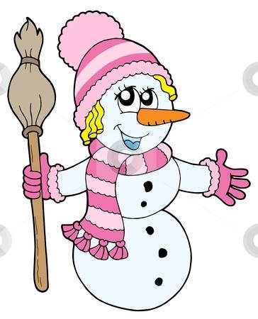 Cute snowman girl stock vector clipart, Cute snowman girl - vector illustration. by Klara Viskova